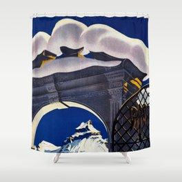 Vintage Engelberg Switzerland Travel Shower Curtain
