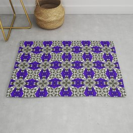 Navy Blue Grey and White Repeat Tile Pattern Rug