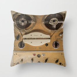 Vintage tape sound recorder reel to reel Throw Pillow