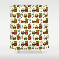 junk food Shower Curtains featuring Junk Food Pattern by mebz art