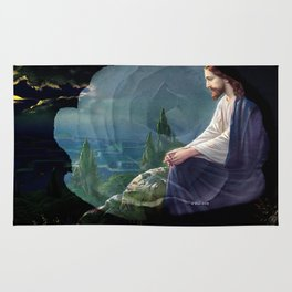 Jesus Christ On Mount Olive With White Rose By Annie Zeno Rug