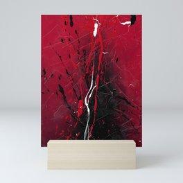 Rising - Black and red abstract splash painting by Rasko Mini Art Print