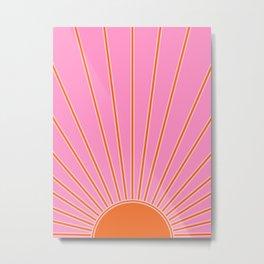 Sun Print Sunrise Pink And Orange Colors Sunshine Retro Sun Wall Art Vintage Boho Abstract Decor Metal Print