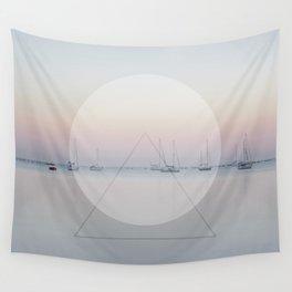 Calm Sea Sail Boats Geometric Nature Art Wall Tapestry
