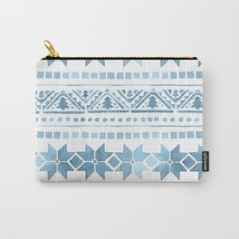 White & Blue Nordic Pattern  Carry-All Pouch
