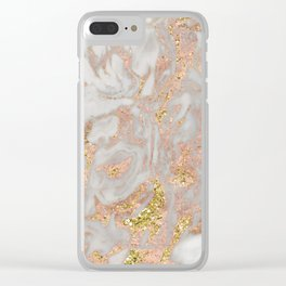 Rose gold marble dazzling swirl Clear iPhone Case