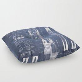 NASA SpaceX Crew Dragon Spacecraft & Falcon 9 Rocket Blueprint in High Resolution (dark blue) Floor Pillow