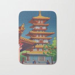 Japanese Woodblock Print Vintage Asian Art Colorful woodblock prints Pagoda Shinto Shrine Bath Mat