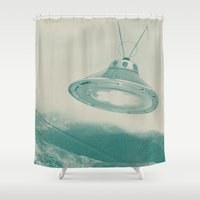 ufo Shower Curtains featuring UFO II by Grafiskanstalt
