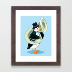 Puffin On A Tuba Framed Art Print