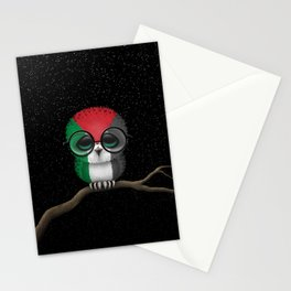 Baby Owl with Glasses and Palestinian Flag Stationery Cards