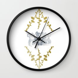 Koalas in Gold Wall Clock