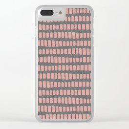 Dusty rose gold waves on grey charcoal faux glitter pattern Clear iPhone Case