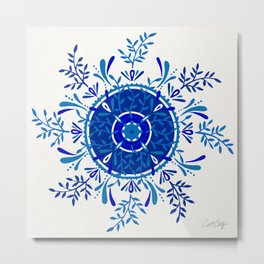 Leaf Mandala – Blue Palette Metal Print