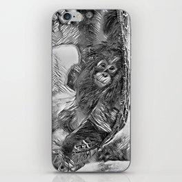 AnimalArtBW_OrangUtan_20170605_by_JAMColorsSpecial iPhone Skin