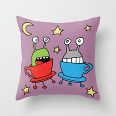 Space MiniMonsters Throw Pillow