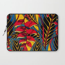 Jungle Glam Falling Leaves Blue Gold Laptop Sleeve