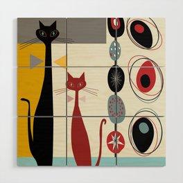 Mid-Century Modern Art Cats Wood Wall Art