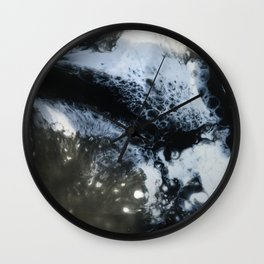 Moon / Black and white fluids Wall Clock