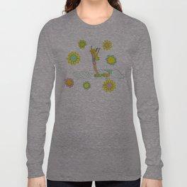 Surf Art Hang 10 Lady Slide Flower Power by Surfy Birdy Long Sleeve T-shirt