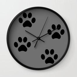 Grey Pawprints Wall Clock