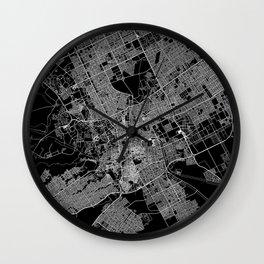 Riyadh Black Map Wall Clock