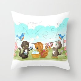 Three Kittens Washing Mittens Throw Pillow