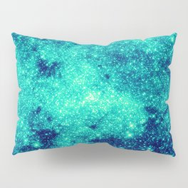 Teal Turquoise GalaXy. Sparkle Stars Pillow Sham