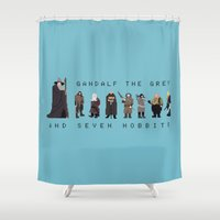 gandalf Shower Curtains featuring gandalf the grey and seven hobbits by gazonula