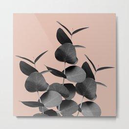 Eucalyptus Leaves Black Gray White Pale Terracotta #1 #foliage #decor #art #society6 Metal Print