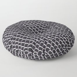 Seigaiha Black Onyx Mermaid Scales Floor Pillow