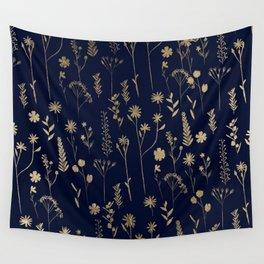 Hand drawn gold cute dried pressed flowers illustration navy blue Wall Tapestry