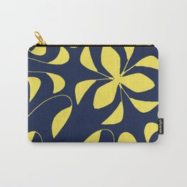 Leafy Vines Yellow and Navy Blue Carry-All Pouch