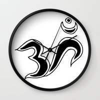 om Wall Clocks featuring Om by Dror Designs