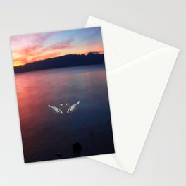 Sunset and swans in Ohrid  Lake Stationery Cards