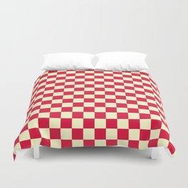 Cream Yellow and Crimson Red Checkerboard Duvet Cover