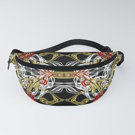 modern chic festive shiny metal pattern in red gold Fanny Pack