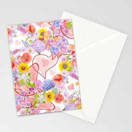 seamless  pattern with flowers and hearts Stationery Cards