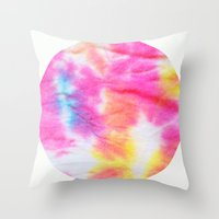 tie dye Throw Pillows featuring Tie Dye  by Lara Gurney