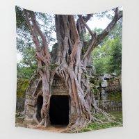 tomb raider Wall Tapestries featuring Angkor Temple Ta Prohm Siem Reap Cambodia by Brian Raggatt