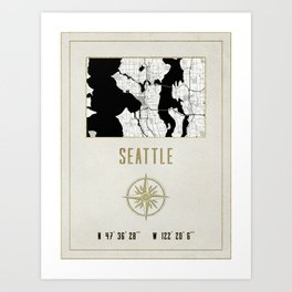 Seattle - Vintage Map and Location Art Print