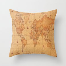 World Map LeaTher Throw Pillow