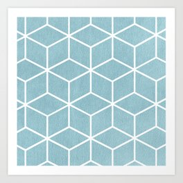Light Blue and White - Geometric Textured Cube Design Art Print