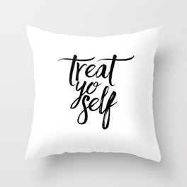 Wall Decor Watercolor Dorm Wall Art Parks and Recreation Print Treat Yo Self Print Funny Quote Print Throw Pillow