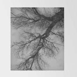 Lungs of the Earth | Nature Photography | Weeping Willow | Black and White | black-and-white | bw Throw Blanket