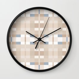 Beige and Blue Color Blocks Geometric Pattern Wall Clock