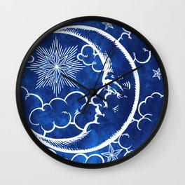 Moon vintage blue Wall Clock