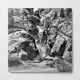 waterfall rope bridge kaunertal alps tyrol austria europe black white 2 Metal Print