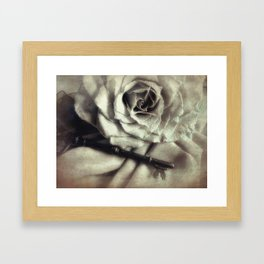 Faded Rose and Old Key Vintage Style Modern Country Cottage Art A130 Framed Art Print