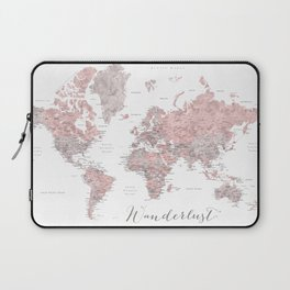 Wanderlust - Dusty pink and grey watercolor world map, detailed Laptop Sleeve
